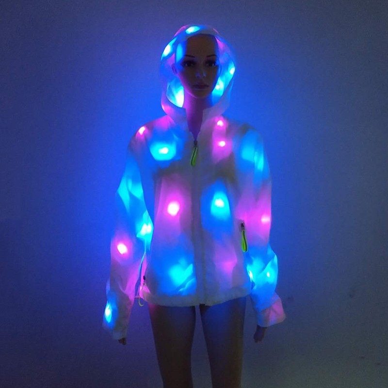 Funny Remote Control Light Up LED Costume Clothing For Men And Women Hooded Canival Rave Party Neon LED Jacket Clothes Plus Size