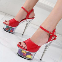 2020 New Platform Sandals Women Wedding Shoes Flower Sexy High Heel 15CM Fashion Sandals Crystal Lady's High heels Sandals 34-43