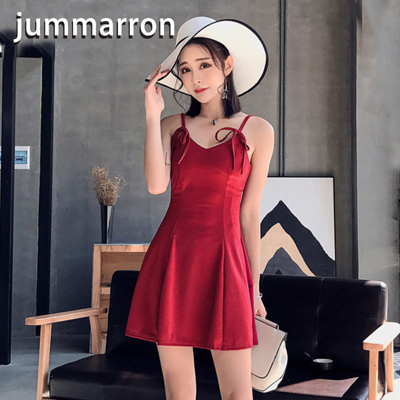 jummaroon 2020 summer <font><b>dress</b></font> women new korean sling cool and breathable red <font><b>dress</b></font> black <font><b>dress</b></font> vacation Island style plus size image