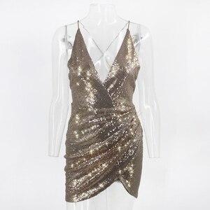 Image 5 - Thereadict Spaghetti Strap Glitter Sequin Dress Sexy Deep V Neck Backless Party Dress Celebrity Mini Bodycon Dress Women Vestido