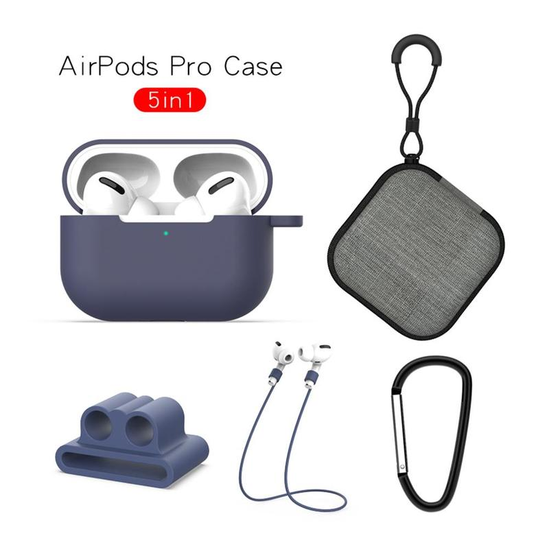 <font><b>5</b></font> <font><b>In</b></font> <font><b>1</b></font> Silicone Protective Cover For Apple <font><b>Airpods</b></font> <font><b>Case</b></font> Portable Bag Headphone Charging Pro Rope Buckle Anti-lost Carabiner F0J5 image
