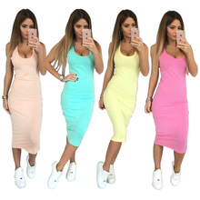 Women Sleeveless Sexy Club O-neck Bodycon dresses Package Hip Mid-Calf Dress  Summer Dresss Fashion Casual Long Dress X0181