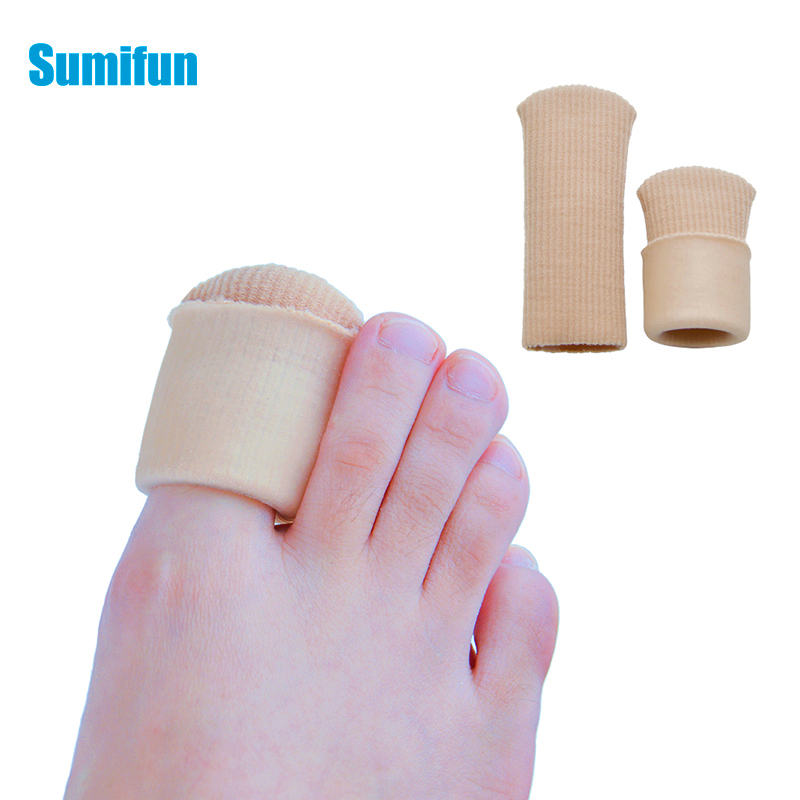 5pcs 7*2cm Toe Fingers Protectors Silicone Stretched Cuttable Tube Bunion Foot Corn Warts Callus Pain Relief Feet Care D2546