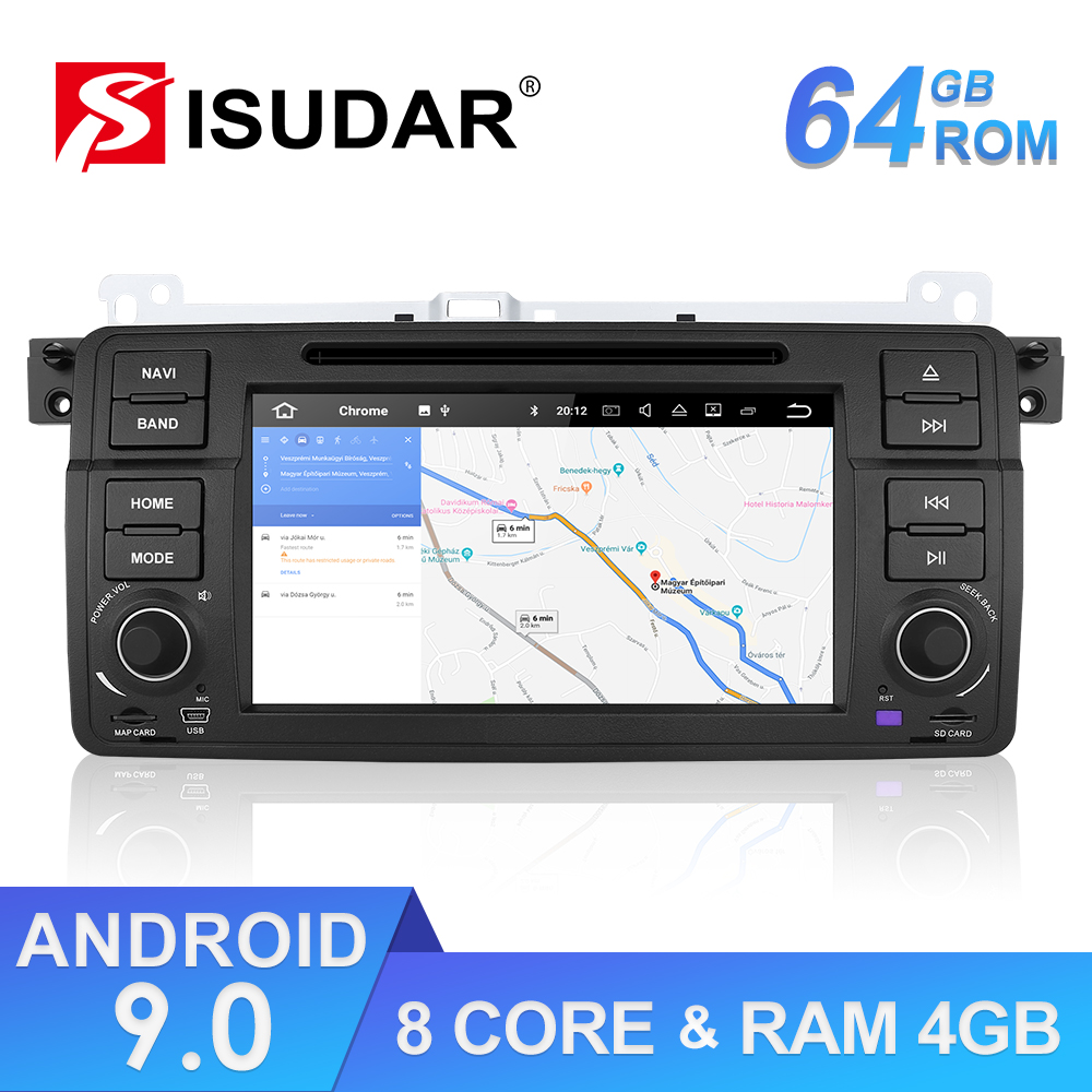 Isudar 1 Din Car Multimedia player Android 9 GPS Autoradio Stereo System For BMW/E46/M3/Rover/3 Series RAM 4G ROM 64GB FM Radio image