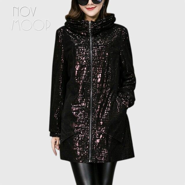 Novmoop Inghilterra di stile più il formato donne con cappuccio di pelle di pecora del cuoio genuino cappotto di trincea di lusso giacca lunga veste femme LT2844