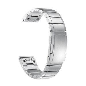 Image 3 - 26 22ミリメートル時計バンドストラップガーミンフェニックス5X 5プラス3 3HR腕時計クイックリリースステンレス鋼手首フォアランナー935/945のための