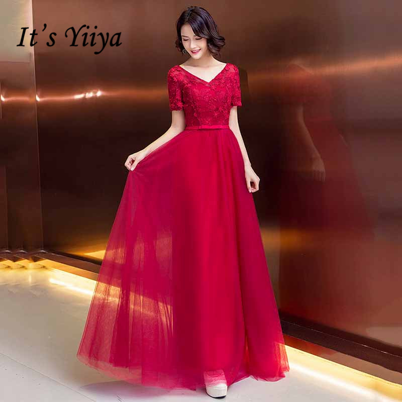 It's Yiiya V-neck Evening Dress Burgundy Appliques Embroidery Women Party Dresses A Line Long Formal Gowns Vestidos K210