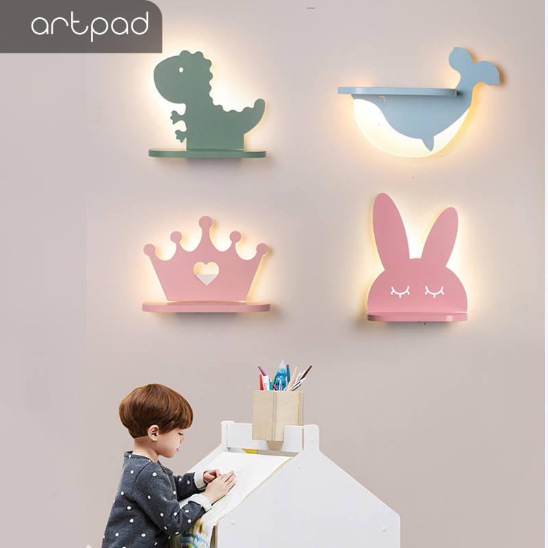 Artpad Animal Shape Dimmable Wall Lamp 12w Dinosaur Rabbit Whale Children Room Light Wall LED With Shelf For Phone Book