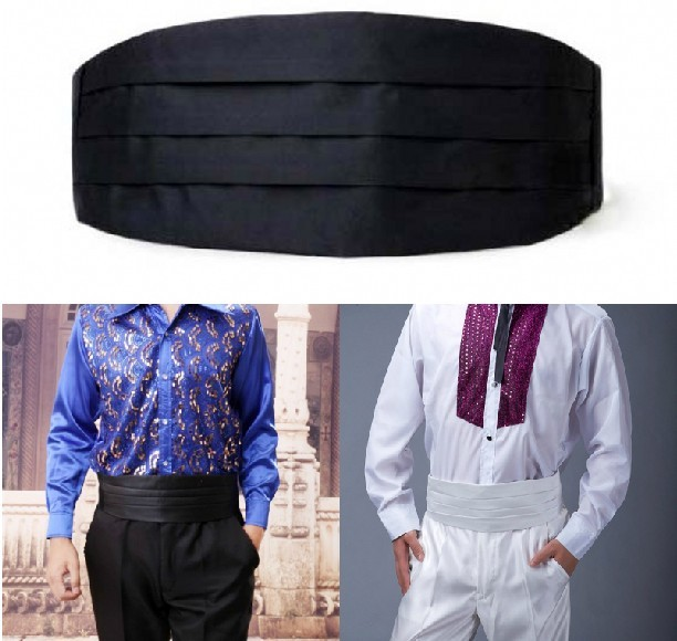 Mens Cummerbund Adjustable Satin Face Tuxedo Waist Band Cinch Waist Belt For Men Wedding Prom Dinner Party Cummerbund