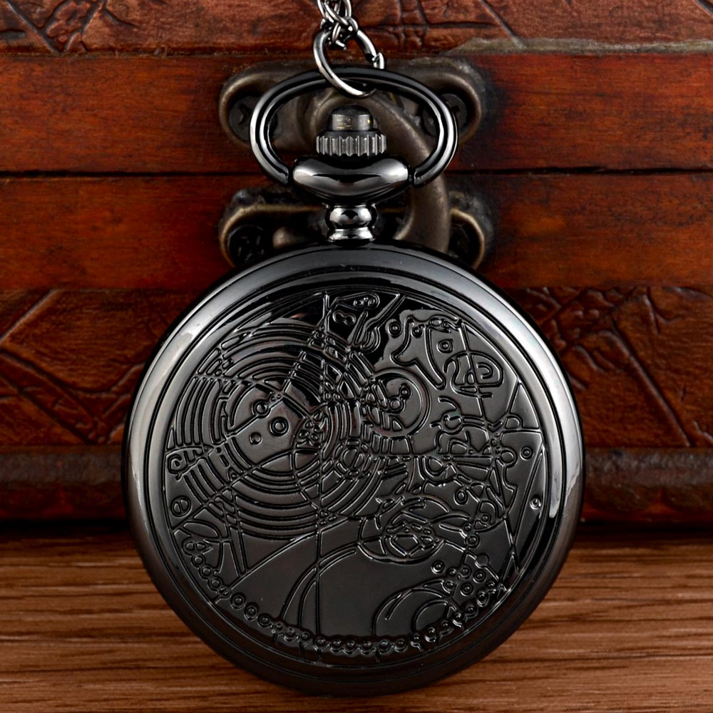 New Arrivals Black Doctor Who  Quartz Pocket Watch Chains Vintage Men Women Pendant Necklace Clock Gift