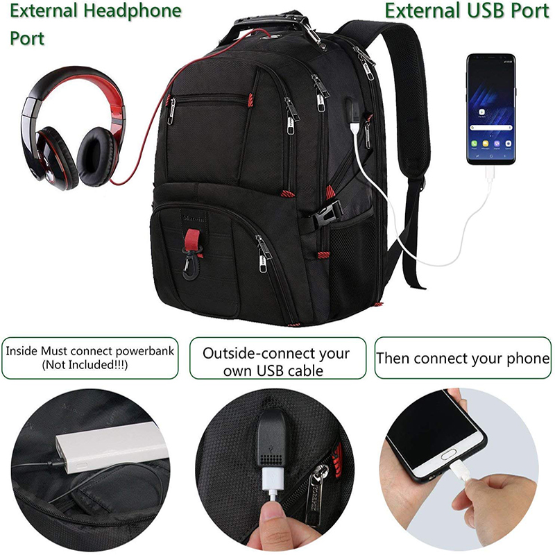 Matein 17 Inch Laptop Backpack with USB Port and Luggage Strap for Men 2019 women traveling bags large capacity business bag - 5