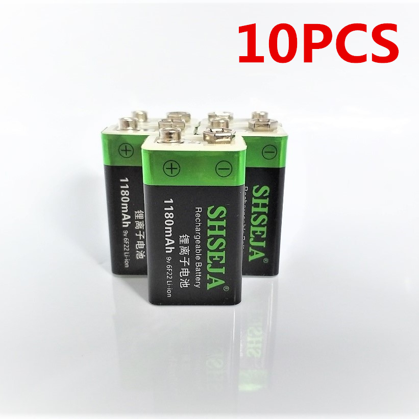 10pcs lot 1180mAh 9V lithium ion battery 6F22 USB rechargeable battery instrumentation toy rechargeable battery free