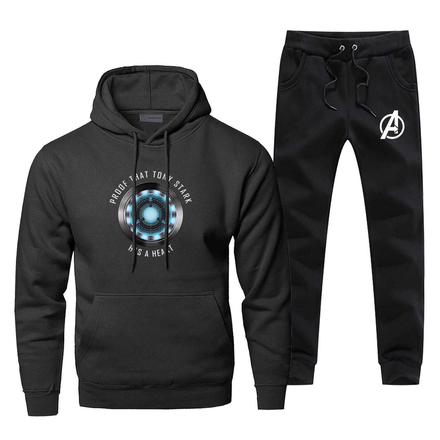 Men Iron Man Hoodie Male Pants Set Avengers Sweatshirt Mens Hoodies Sweatshirts Superhero Sets Two Piece Pant Pullover 2Pcs Coat