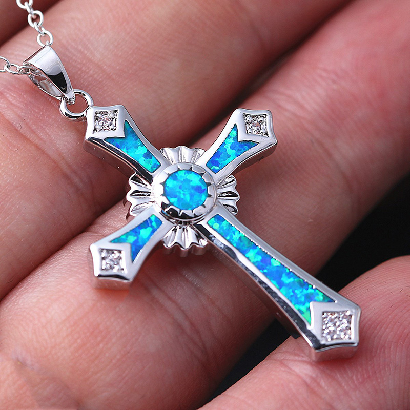 Men Lucky Symbol  Filled Blue Fire Opal Cross Pendants Necklaces for women Wedding Jewelry Christmas gift