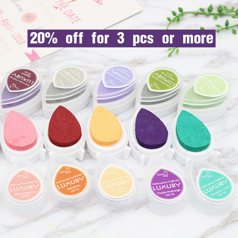 1 Pcs DIY 40 Colors Creative Scrapbooking Oil Rubber Stamps Ink Pad Wedding Book Decoration Party Drop Shape Kwaii Inkpad