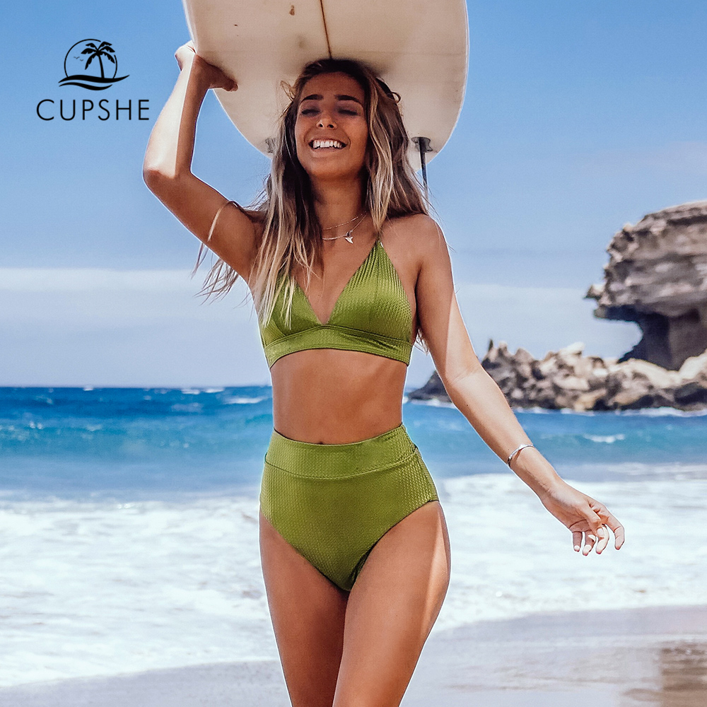CUPSHE Lime Green Textured High-Waisted Triangle Bikini Sets Sexy Swimsuit Two Pieces Swimwear Women 2020 Beach Bathing Suit