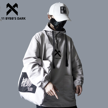 11 BYBB'S DARK Letter embroidered Hooded Sweatshirts Men 2019 Harajuku Hip Hop Pullover Fashion Casual Cotton Hoodies Streetwear