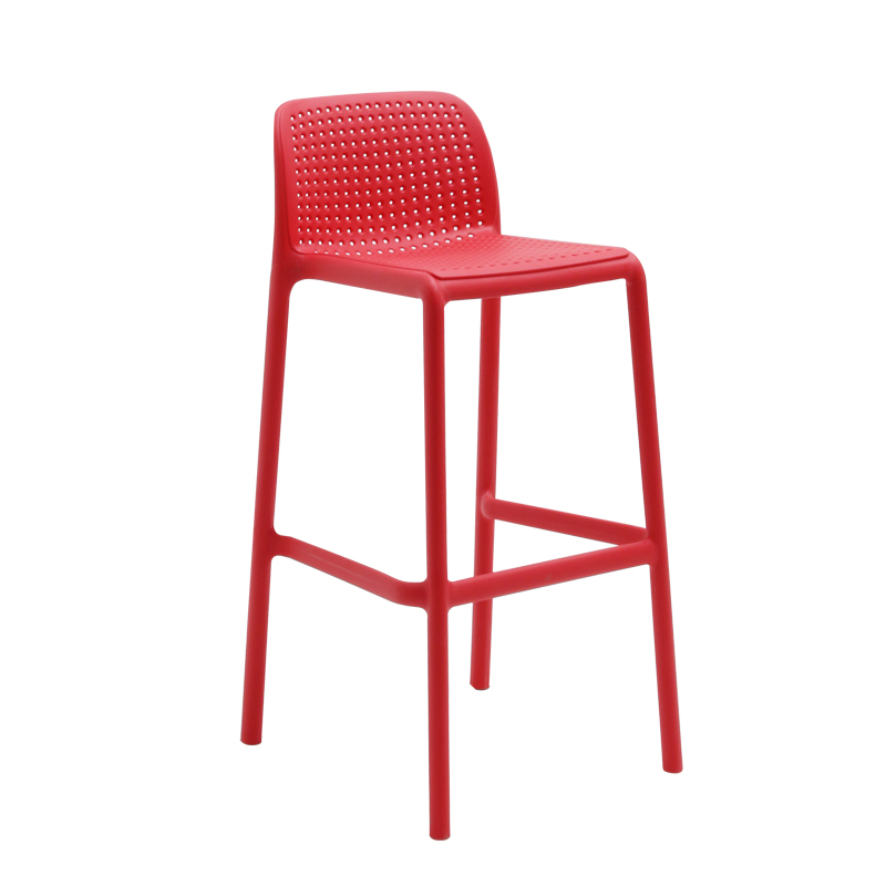 Nordic Bar Stool Outdoor Simple Modern Backrest Bar Stool Household Stacking High Chair Thick Plastic Bar Chair