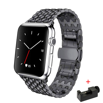 Strap For Apple watch band 44mm 40mm series 5 4 3 2 replacement watchband iwatch 42mm 38mm luxury stainless steel link bracelet stainless steel band for apple watch series 3 2 classic buckle with adapter link bracelet watchband strap for iwatch 42mm 38m