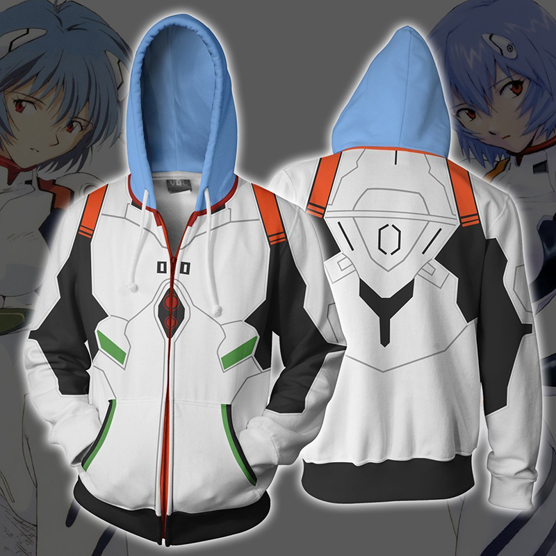 Anime Neon Genesis Evangelion EVA Ayanami Rei Cosplay Costume Zipper Hoodies Sweatshirt Casual Fashion Jacket For Men WomenAnime Costumes   -