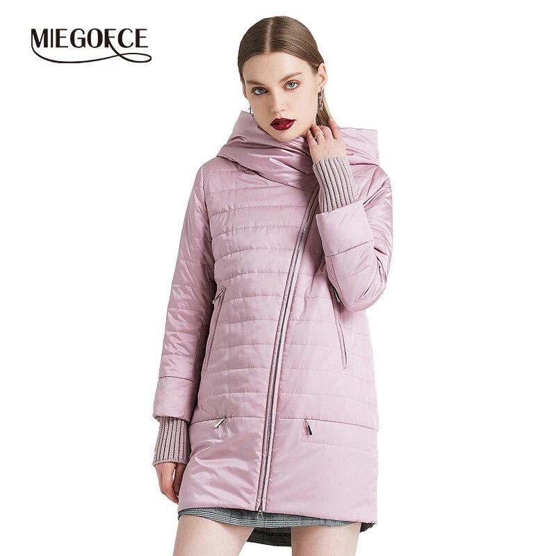 MIEGOFCE 2019 printemps automne veste avec coupe Oblique brillant veste femme mince coton manteau coupe-vent chaud tricoté manches veste