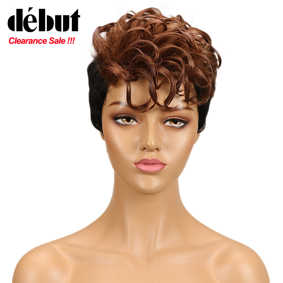 Debut Wigs For Black Women Colored Human Hair Wig Short Human Hair Wigs Human Wigs Machine Made Red Blonde Color Free Shipping