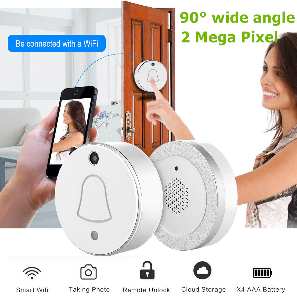 LESHP Smart Wireless WiFi Enabled Camera Door Phone Visible Doorbell 90 Degrees Wide Angle 480*320 Pixel Home Security