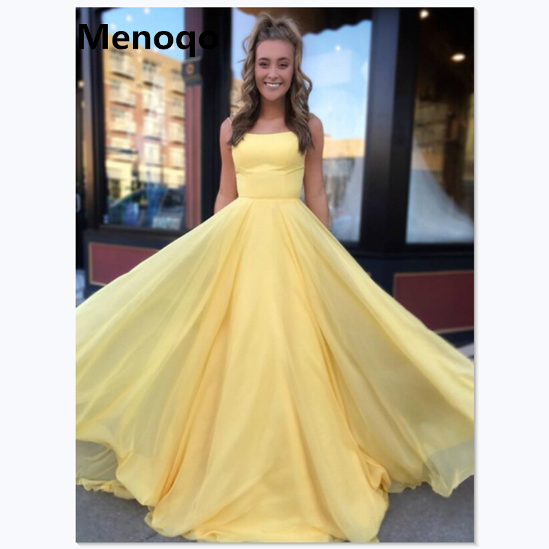Elegant Yellow Chiffon Evening Dresses Long Formal A Line Spaghetti Straps Sweep Train Prom Dresses Robe De Soiree