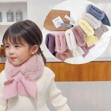 Scarf Warmers Pompom Neck-Ring Mink-Fleece-Collar Winter Children Girls for Baby Plush-Fishtail