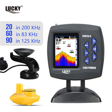 Russian menu!LUCKY  FF918-C100WDS Color Screen Boat Fish Finder Dual Frequency Wired& Wireless water depth boat fish finder