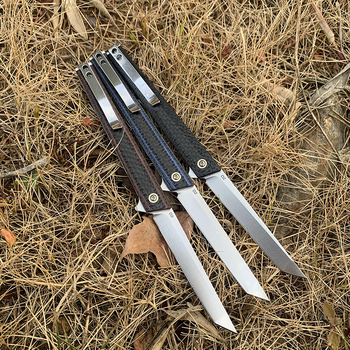 TUNAFIRE  high-end magic pen carbon fiber folding knife  D2 blade EDC Tactical Survival Knives for Hunting Camping 2