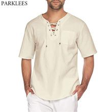 Linen Shirts Chemise Top-Blouse Short-Sleeve Lace-Up Casual Men Fashion Mens Summer Lightweight