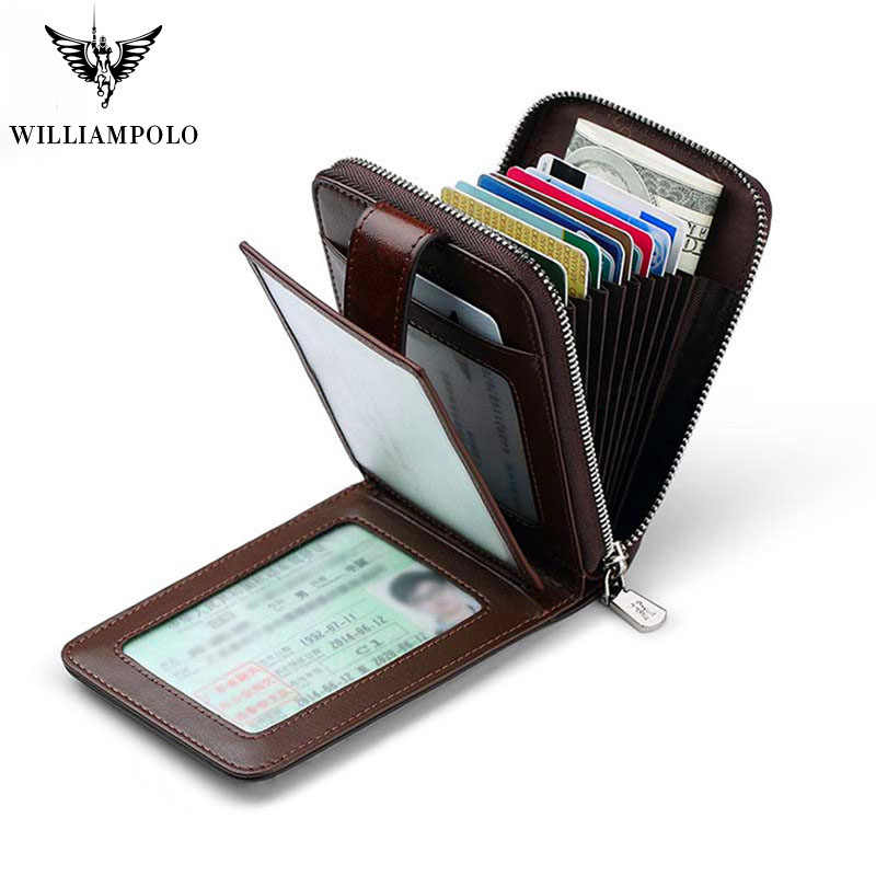 Williampolo Luxury Brand Real Leather Purse Men Casual Credit Card Holder Mini Zipper Hasp Design Small Wallet Brown Red Vintage