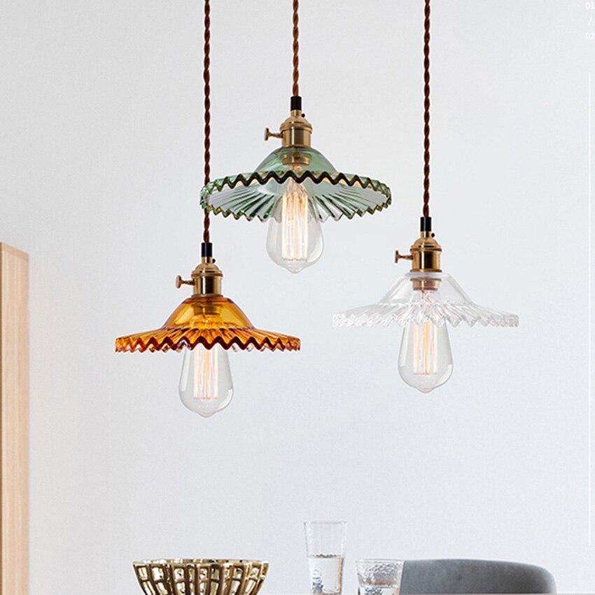 lampe suspendue vintage en verre de 22cm de diametre abat jour de style americain retro luminaires pour bar de restaurant eclairage industriel