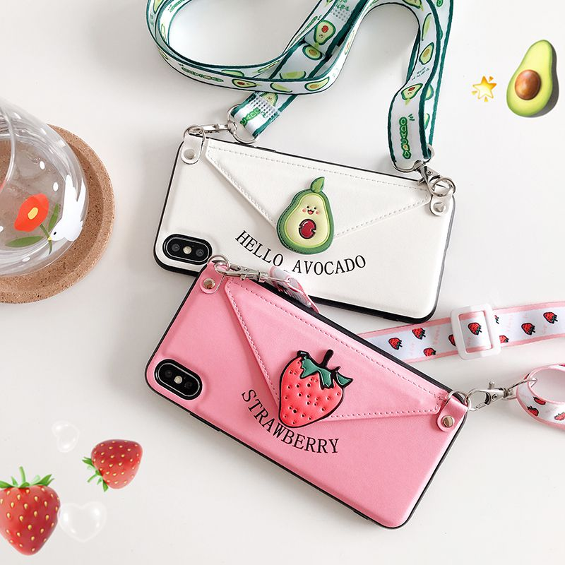 Mobile phone <font><b>case</b></font> for <font><b>iphone6</b></font>/6s/7/8/X/XR/11/11PRO shell strawberry avocado oblique span lanyard leather image