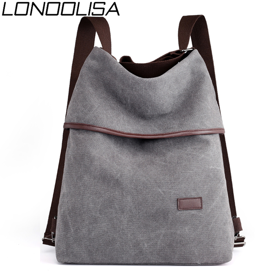 LONOOLISA Fashion Canvas Backpack Multifunction Women Rucksack Female Casual Travel Bags Solid  Big Bagpack Sling Bag Large S