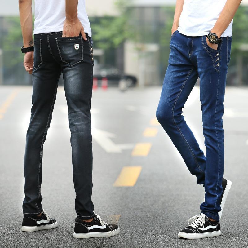 2019 Men Ripped Jeans Skinny Slim Straight Denim Trousers Spring New Fashion Button Biker Jeans Plus Size