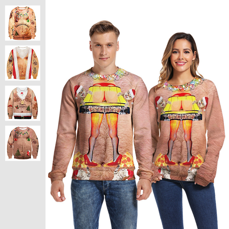 Christmas Sweater 3d Print Novelty Ugly Christmas Sweater Unisex Men Women O Neck Long Sleeve Cosplay Chest Hair Pullover Jumper