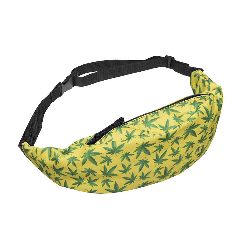 Leaf Pattern Mobile Girls Makeup Brush Waist Bag Sports Waterproof Running Unisex