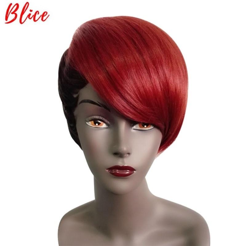 Женский Короткий прямой парик Blice, 8 дюймов, смешанный цвет, FT1B/530 #, парик с правой стороны, в Африканском и американском стиле, винно красный|Синтетические парики без сеточки| | АлиЭкспресс