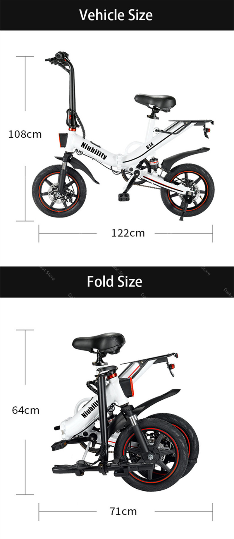 EU Stock Folding Electric bike 2 Wheels Electric Bicycles 14 Inch 400W 48V 15Ah Adult Electric Bicycle With Double Brake (16)