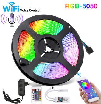 5050 SMD RGB LED Strip Wifi 5M 300 Leds IP65 Waterproof LED Strip Lights Tape Diode Ribbon Flexible Controller+Adapter EU 12V 3A