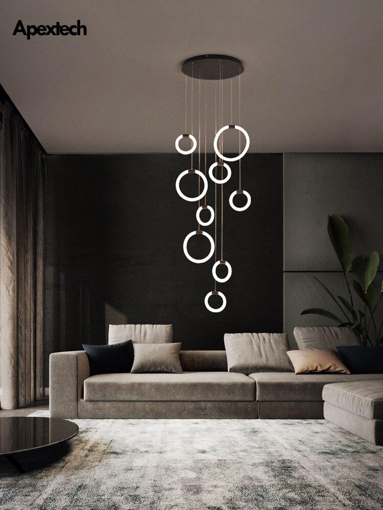 Duplex Apartment Living Room LED Chandelier Spiral Staircase Droplight Dining Room Ceiling Hanging Lights Modern Indoor Light