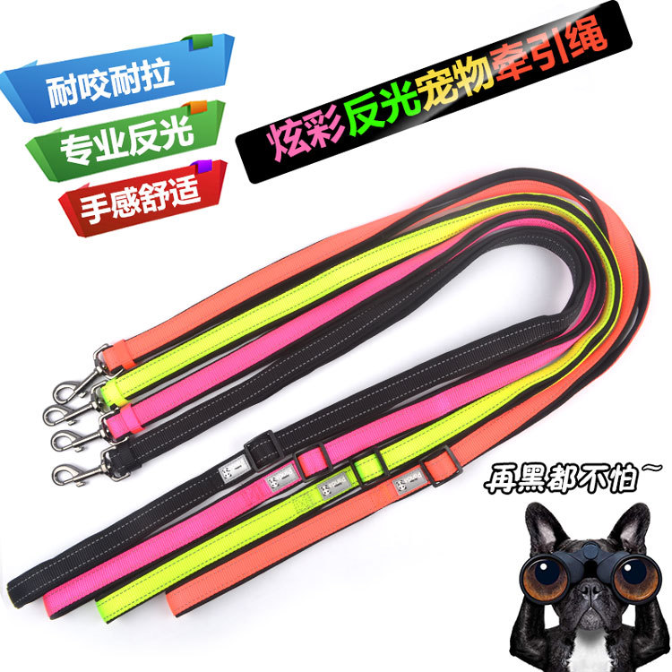Pet Traction Rope Dog Neck Ring Traction Small Large Dogs Traction Sling Colorful Reflective