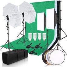 Fotografie Foto Studio Softbox Verlichting Kit Met 2.6X3M Achtergrond Frame 3 Pcs Achtergronden Statief Reflector Board paraplu