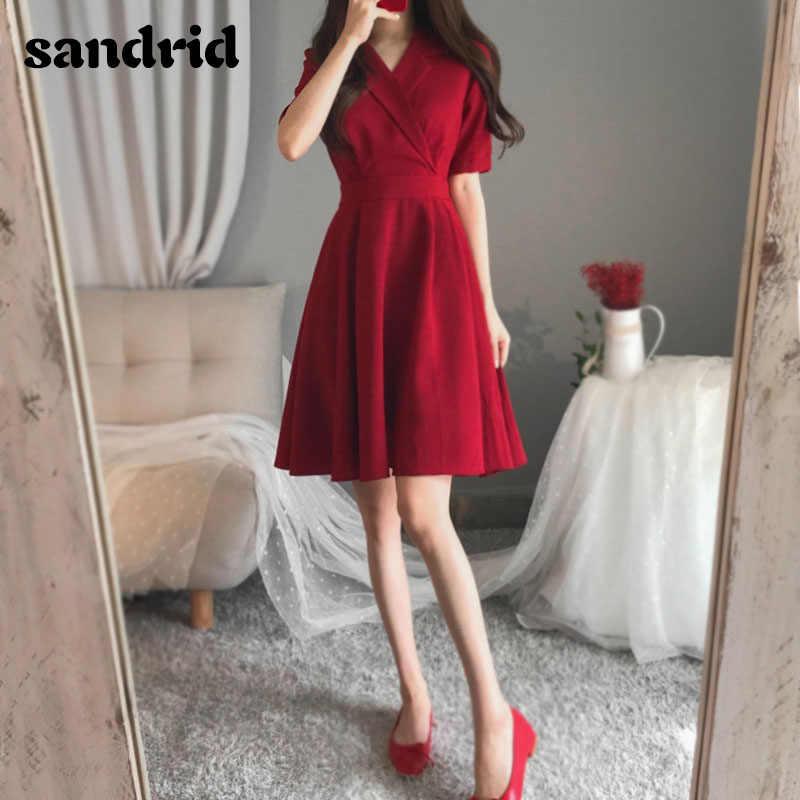 Yeni 2020 kadın yaz elbisesi artı boyutu kırmızı parti elbise kadın V boyun ofis bayan ince zarif elbiseler M-4XL