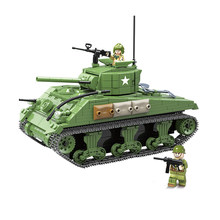 726 PCS US Military Sherman M4A1 Tank Building Blocks Legoings Technic City Police WW2 Tank Soldier Weapon Army Bricks Kids Toys(China)