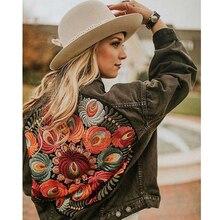 TEELYNN Denim kadın ceket 2019 sonbahar çiçek aplikler nakış vintage ceket uzun kollu dış giyim ceket kadınlar için coatee
