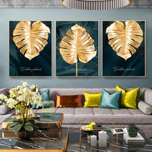 Wall Art Abstract Luxurious Golden Leaves Modern Pictures Canvas Print Oil Painting Posters for Living Room Home Decor Framed