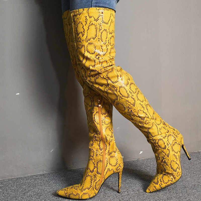 Prova Perfetto 2020 bahar seksi kadın çizmeler sarı deri yılan derisi yüksek ince topuklu uzun çizmeler over-the-diz slip-on kadın çizme